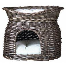 Pelech pro psy a kočky, proutěná jeskyně – šedý