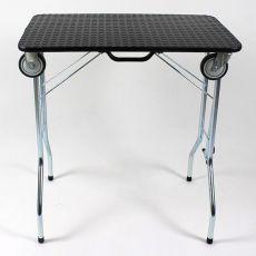 Stůl trimovací skládací s kolečky 80 x 50 x 85 cm, černý