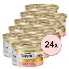 Konzerva Gourmet GOLD - kousky ve šťávě s lososem a kuřecím, 24 x 85g