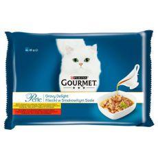 Kapsičky GOURMET PERLE Gravy Delight – hovězí a kuře, 4 x 85 g