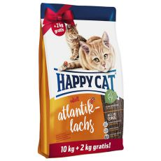 Happy Cat Adult Atlantik-Lachs 10 + 2 kg GRATIS