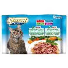 Stuzzy Cat MULTIPACK šunka a telecí + králík v želé 4 x 100 g
