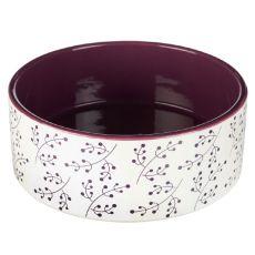 Keramická miska pro psa bílo-vínová 1,4 l