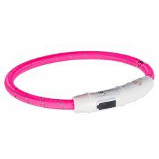 Svítící LED obojek XS-S, růžový 35 cm