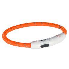 Svítící LED obojek L-XL, oranžový 65 cm