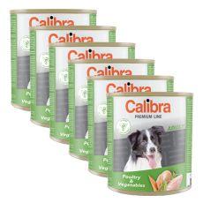 Konzerva CALIBRA Premium Adult – drůbež a zelenina, 6 x 800 g