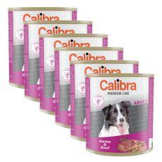 Konzerva CALIBRA Premium Adult – zvěřina a hovězí, 6 x 800 g, 5 + 1 GRATIS