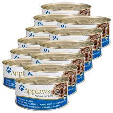 Applaws Cat - konzerva pro kočky s tuňákem a krabem, 12 x 70g