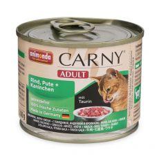 Krmivo CARNY ADULT s hovězím masem, krůtou a králíkem - 200 g