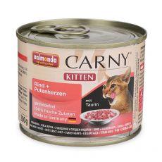 Krmivo CARNY KITTEN hovězí + krůtí srdce 200 g