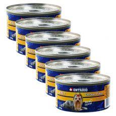 Konzerva ONTARIO Adult pro psa, kuřecí kousky + žaludky, 6 x 200 g