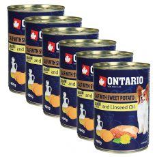 Konzerva ONTARIO Telecí se sladkým bramborem a lněným olejem – 6 x 400 g