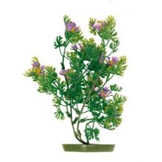 Rostlinka do akvária - plastová, 17 cm fialové květy