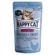 Kapsička Happy Cat ALL MEAT Adult Sterilised Chicken & Trout 85 g