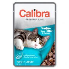 CALIBRA Cat Adult kousky se pstruhem a lososem v omáčce 100 g