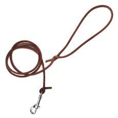 Kulaté kožené vodítko pro psy, hnědé 120 cm / 8 mm