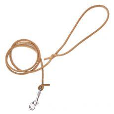 Kulaté kožené vodítko pro psy, béžové 120 cm / 8 mm