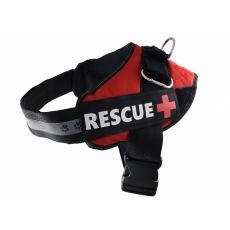 Postroj pro psy Rescue M 55–65 cm, červený