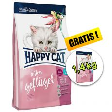 Happy Cat Kitten Geflügel 1,4 kg + 1,4 kg GRATIS