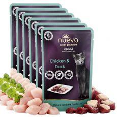 Kapsička NUEVO CAT Adult Chicken & Duck 6 x 85 g, 5 + 1 GRATIS