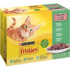 Kapsičky Friskies Cat hovězí, kuře, tuňák a treska ve šťávě 12 x 85 g