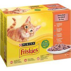 Kapsičky Friskies Cat kuře, kachna, losos a krůta ve šťávě 12 x 85 g