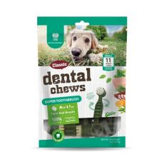 Dentální kartáčky DENTAL Chews Super Toothbrush s mátou a čajem 170 g / 11 ks