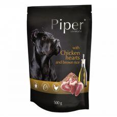 Kapsička Piper Adult s kuřecími srdci a hnědou rýží 500 g
