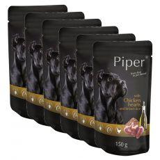 Kapsička Piper Adult s kuřecími srdci a hnědou rýží 6 x 150 g