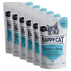Kapsička Happy Cat MEAT IN SAUCE Adult Chicken & Trout 6 x 85 g