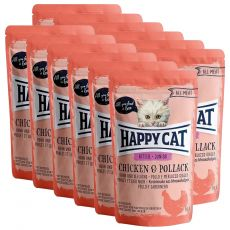 Kapsička Happy Cat ALL MEAT Kitten Junior Chicken & Pollack 12 x 85 g