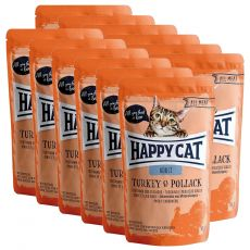 Kapsička Happy Cat ALL MEAT Adult Turkey & Pollack 12 x 85 g