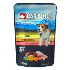 Kapsička ONTARIO DOG Liver with Chicken in broth 100 g
