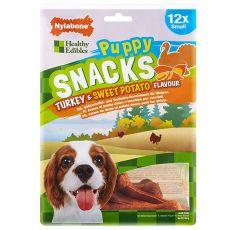 Nylabone Edible Snacks Puppy krůta & sladké brambory S 12 ks