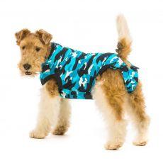 Pooperační oblečení pro psa XXXS kamufláž modrá