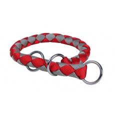 Obojek pro psy, škrtící, červeno-šedý - S - M, 35 - 41 cm