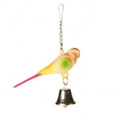 Hračka pro ptáčky - andulka se zvonečkem - 9 cm
