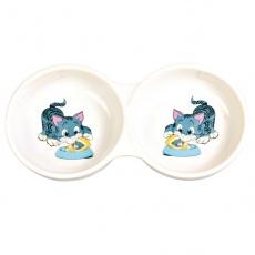 Miska pro koťátka dvojitá, keramická - 150 ml