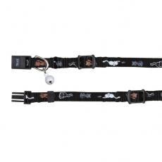 Obojek pro kočky s motivem, černý - 15–20 cm