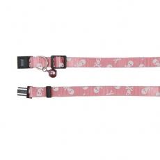 Obojek pro kočky, růžový - lebky - 15–20 cm