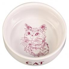 Miska pro kočky, keramická s obrázkem - 0,3 l