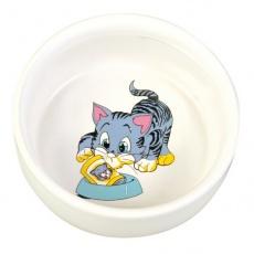 Miska pro kočičku s obrázkem, keramická - 0,3 l