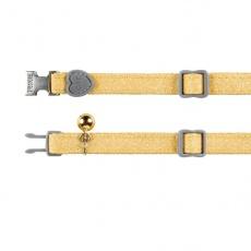 Obojek pro kočky, žluté třpytky. 18–30 cm