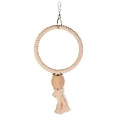 Hračka pro ptáky - kruh z lana, korálek, 24 cm
