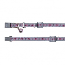 Obojek pro kočky reflexní, růžový zvoneček - 15–20 cm