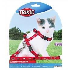Postroj a vodítko pro koťata s motivem, červený