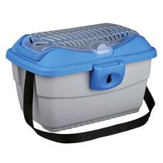 Přepravní box pro hlodavce s řemenem - modro-stříbrný