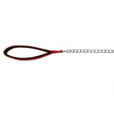 Vodítko pro psa řetězové - červená úchytka, 110 cm/2 mm