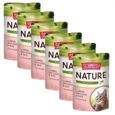 Schmusy Nature kapsička hovězí a drůbež 6 x 100 g