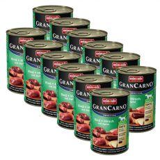 Konzerva GranCarno Original Adult hovězí a jelení maso s jablky - 12 x 400 g